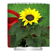 Watering With Sunflower Shower Curtain