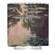 Waterlilies With Weeping Willows Shower Curtain