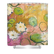 Waterlillies At Dusk Shower Curtain by Jennifer Lommers