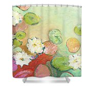 Waterlillies At Dusk No 2 Shower Curtain by Jennifer Lommers