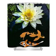Waterlily And Koi Pond Shower Curtain