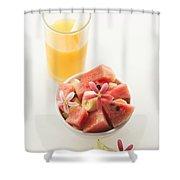 Watermelon And Banana Fruit Salad With Orange Juice Shower Curtain