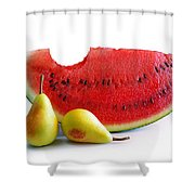 Watermelon And Pears Shower Curtain