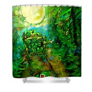 Watermelon Wagon Moon Shower Curtain