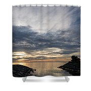 Waterscape In Gray And Yellow Shower Curtain