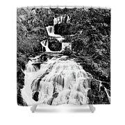 Water Slide Waterfall Bw Shower Curtain