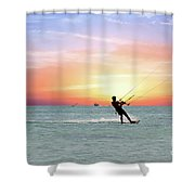 Watersport On Thecaribbean Sea At Aruba Island At Sunset Shower Curtain
