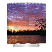 Waterville Sunrise Panorama 0002 0003 Signed Shower Curtain