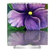 Watery African Violet Reflection Shower Curtain