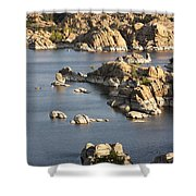 Watson Lake Adventures Shower Curtain