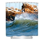 Wave Mirrors Rock Shower Curtain