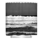 Waves 1 In Bw Shower Curtain