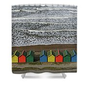 Waves And Beach Huts - Whitby Shower Curtain