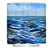 Waves And Foam Shower Curtain