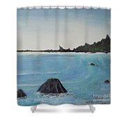Waves And Pines Shower Curtain