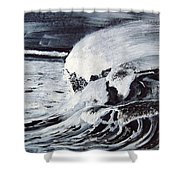 Waves At Night Shower Curtain