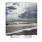 Waves Breaking Against The Beach And Cloud Streaming Above  Skegness Lincolnshire England Shower Curtain
