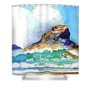 Waves Bursting On Rocks Shower Curtain