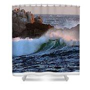 Waves Crash Against The Rocks Shower Curtain