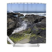 Waves Crash Ashore On A Lava Bed Shower Curtain