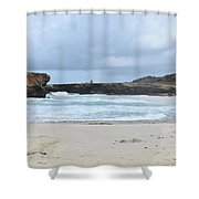 Waves Crashing Ashore With Large Rock Formations Shower Curtain