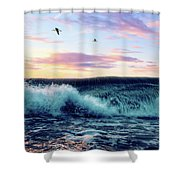 Waves Crashing At Sunset Shower Curtain