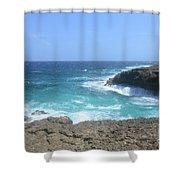 Waves Crashing On To The Lava Rock At Daimari Beach Shower Curtain