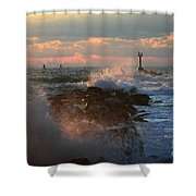 Waves Crashing Over The Jetty Shower Curtain