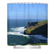 Waves From Galway Bay Crashing Against The Cliff's Of Moher Shower Curtain