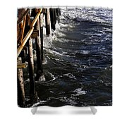 Waves Hitting Santa Monica Pier Shower Curtain