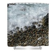 Waves Meet Pebbles Shower Curtain