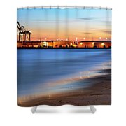 Waves Of Industry - Gulfport Mississippi - Sunset Shower Curtain