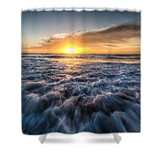 Waves Of The Sunset Shower Curtain