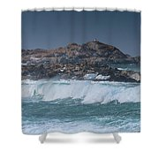Waves On A Cloudy Day Shower Curtain
