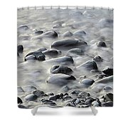 Waves On Cobble-panoramic Shower Curtain