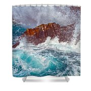 Waves On Lava Rocks Shower Curtain