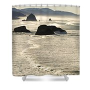 Waves Roll Ashore On The Oregon Coast Shower Curtain