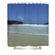 Waves Rolling Ashore On The Beach Of Boca Keto Shower Curtain