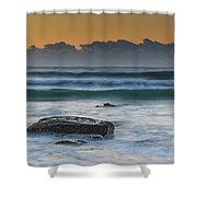 Waves Rolling In At Sunrise Shower Curtain
