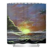 Waves Through The Sunset Shower Curtain
