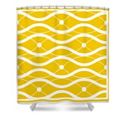 Waves With Border In Mustard Shower Curtain