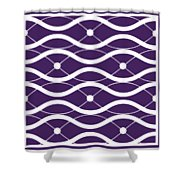 Waves With Border In Purple Shower Curtain
