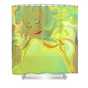Wavy Hair And Red Lips Shower Curtain