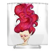 Wavy Red Shower Curtain