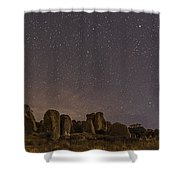 Waxing Moon Above The City Of Rocks Shower Curtain