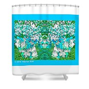 Waxleaf Privet Blooms In Aqua Hue Abstract With Aqua Frame Shower Curtain
