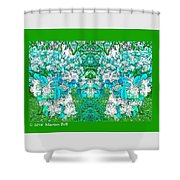 Waxleaf Privet Blooms In Aqua Hue Abstract With Green Frame Shower Curtain