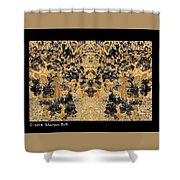 Waxleaf Privet Blooms In Black And White - Color Invert With Golden Tones Abstract Shower Curtain