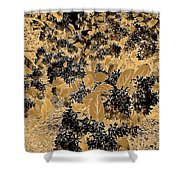 Waxleaf Privet Blooms On A Sunny Day In Black And White - Color Invert With Golden Tones Shower Curtain