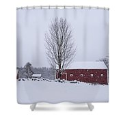 Wayside Inn Grist Mill Covered In Snow Storm 2 Shower Curtain